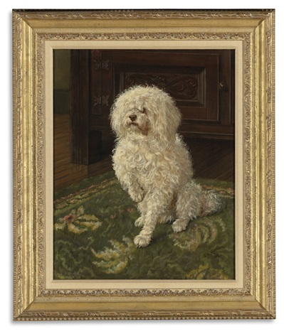 poodle on a green carpet by george l harrison