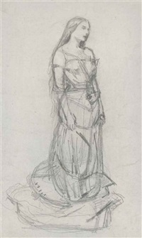 study of effie millais as agnes for the eve of saint agnes by sir john everett millais