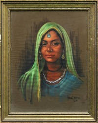 portrait of an indian lady by harley brown
