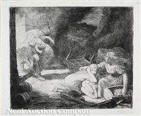 l'incendie, no. 2 (+ 2 others; 3 works) by alphonse legros