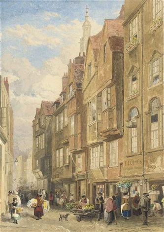 street vendors on wych street off the strand london by john wykeham archer