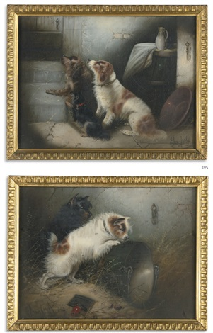 two spaniels and two terriers a pair by edward armfield