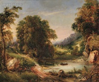 landscape with fishermen on a small lake by george loring brown