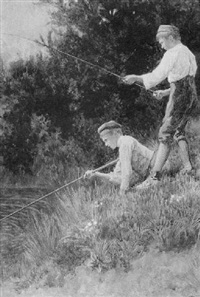 young boys fishing by george henry alan brown