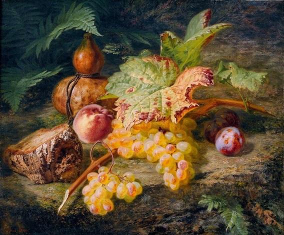 stillleben mit weintrauben pfirsich und brot by simon saint jean
