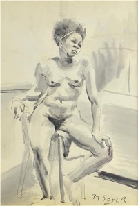 seated nude by moses soyer