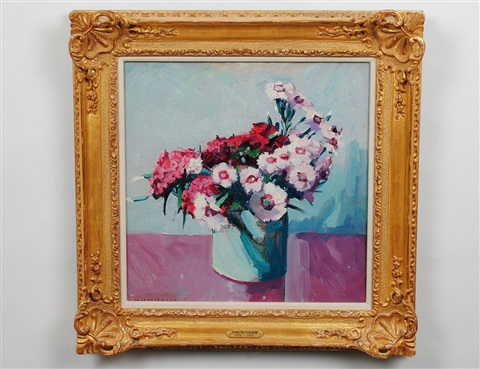 pink dianthus in a vase by jane peterson