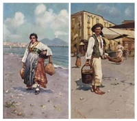 a neapolitan before a street market (+ selling ewers on the shore of the bay of naples before vesuvius; pair) by alfredo campajola