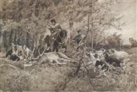 zwei treiber mit hundemeute und erlegtem hirsch by rudolf frentz the elder