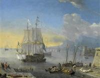 segelschiffe im belebten hafen by reinier nooms