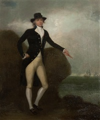 portrait of a naval captain, believed to be anthony thomas swinburne rn of hms miranda, full length, standing, his hand resting on a rock, shipping in the distance by richard livesay