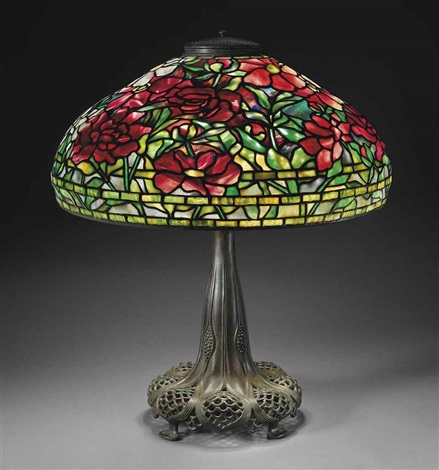 peony shade and base by tiffany studios