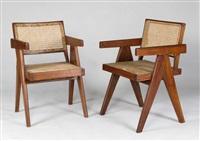 paire de fauteuils dits cane and teak wood armchair by pierre jeanneret