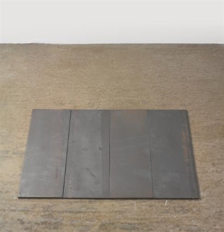 4 part small steel rectangle in 4 parts by carl andre