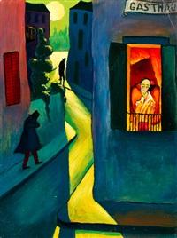 nachtelijke stad met gasthaus by marianne werefkin