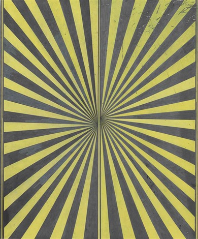 untitled (black and canary yellow butterfly) by mark grotjahn