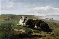 sommerliche weidelandschaften mit kühen (pair) by johannes hubertus leonardus de haas