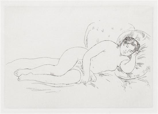 femme nue couchée tournée à droite by pierre auguste renoir