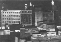 nighttime in the city of new orleans, roosevelt hotel and south rampart street by l.a. fitch