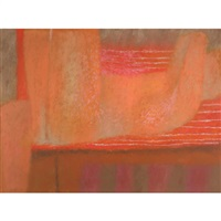 abstract in orange and pink by john graham coughtry