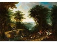 landschaft mit höfischer hirschjagd by franz christoph janneck