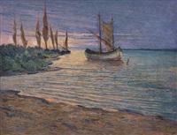 barche al tramonto by aldo dell' acqua