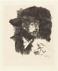 der raucher (bildnis des malers horstig) - leibls mutter (2 works) by wilhelm maria hubertus leibl