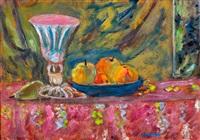 stilleven met glas en fruitschaal by czeslaw rzepinski