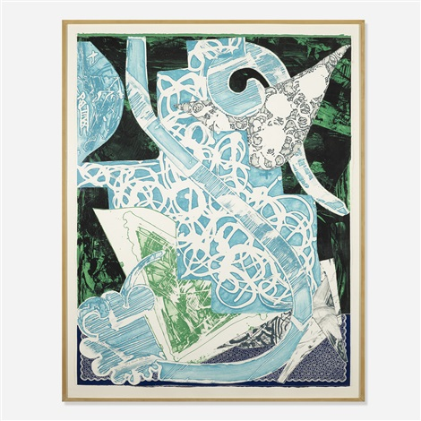 swan engraving blue green grey by frank stella