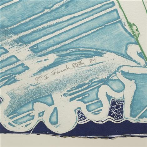 swan engraving blue, green grey by frank stella