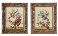 floral still lifes (pair) by jan frans van dael