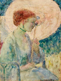 the pink parasol by frederick carl frieseke
