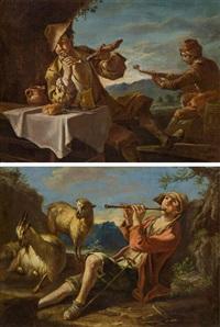 pendants - flötenspielender hirtenjunge & pfeifenrauchender und musizierender bauer beim mahl (pair) by giacomo francesco cipper