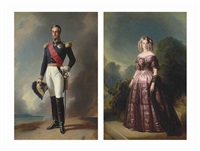 portrait of the duc d'aumale (+ portrait of the duchess d'aumale; pair) by franz xaver winterhalter