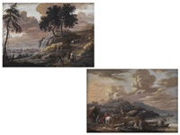 landschaft (+ another similar; pair) by louis nicolas and henri-joseph van blarenberghe
