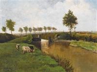sommerliche kanalpartie mit weidenden kühen by johannes hubertus leonardus de haas