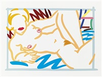 judy with blue blanket by tom wesselmann