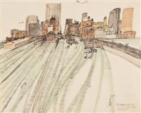 chicago: grass on the railroad tracks by paul hogarth