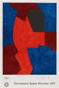 composition bleue, rouge et noire (poster for the olympic games in munich 1972) by serge poliakoff
