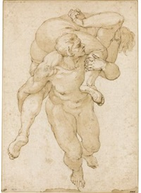 a devil carrying a lost soul, after figures in michelangelo's last judgement by giulio benso