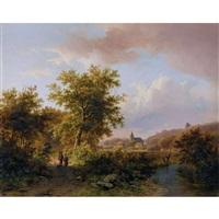 waldrand am niederrhein mit bauernpaar by johann bernard klombeck