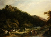 a view of berry pomeroy castle unframed by william ashford