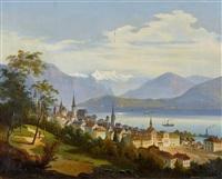 stadt am see mit alpenpanorama by friedrich wilhelm jankowski