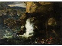 schiffbruch eines grossen seglers an klippen mit hochjagender gischt by andries van eertvelt