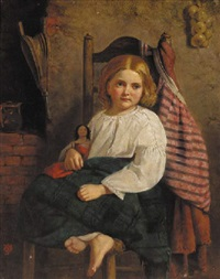 a young girl with a doll by j.s. oakley