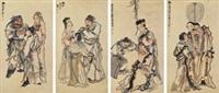人物 四屏立轴 设色纸本 (in 4 parts) by huang shanshou
