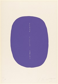 concetto spaziale (ovale violet avec fente) by lucio fontana