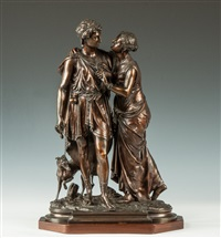 bronze sculpture of courting couple with dog by jean louis gregoire