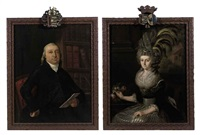 portrait of simon de jongh van son in a black costume with a white jabot, seated in his library (+ portrait of charlotte hahn in a silver and black dress with lace collar and cuffs and a feathered hat; pair) by cornelis van cuylenburg