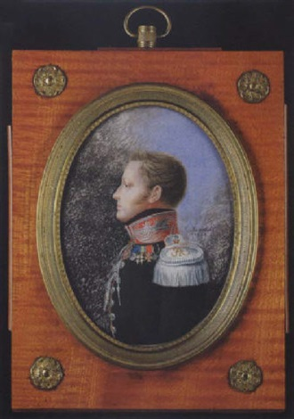 portrait of his imperial highness the grand duke mikhail pavlovich aged 24 wearing uniform black coat with red pipping red collar and various medals and orders by peter ernst rockstuhl